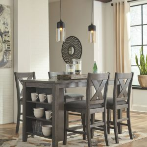 Caitbrook - Dark Gray - 5 Pc. - RECT DRM Counter Table & 4 UPH Barstools