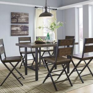 Kavara - Medium Brown - 7 Pc. - RECT DRM Counter Table & 6 Barstools