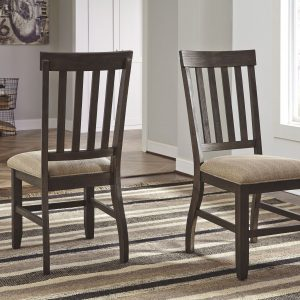Dresbar - Grayish Brown - 7 Pc. - RECT DRM Table & 6 UPH Side Chairs 1