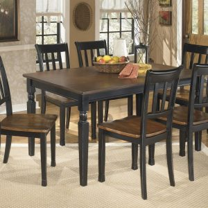 Owingsville - Black/Brown - 7 Pc. - RECT DRM Table & 6 Side Chairs