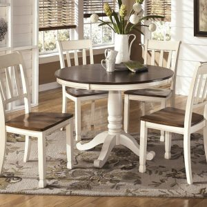 Whitesburg - Brown/Cottage White - 6 Pc. - Round DRM Table & 4 Side Chairs