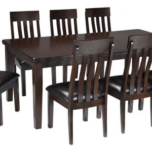 Haddigan - Dark Brown - 9 Pc. - RECT DRM EXT Table & 8 UPH Side Chairs 1