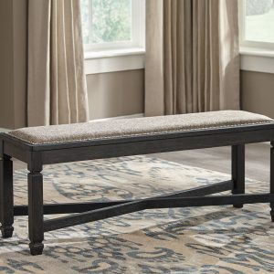 Tyler Creek - Black/Gray - 8 Pc. - RECT DRM Table, 4 UPH Side Chairs, UPH Bench & 2 Display Cabinets 1