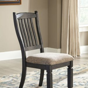Tyler Creek - Black/Gray - 8 Pc. - RECT DRM Table, 6 UPH Side Chairs & Server 1