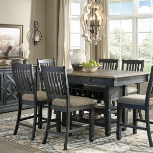 Tyler Creek - Black/Gray - 8 Pc. - RECT DRM Counter Table