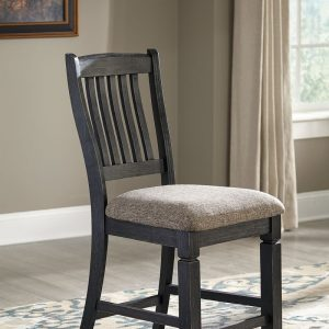 Tyler Creek - Black/Gray - 8 Pc. - RECT DRM Counter Table, 6 UPH Barstools & Server 1