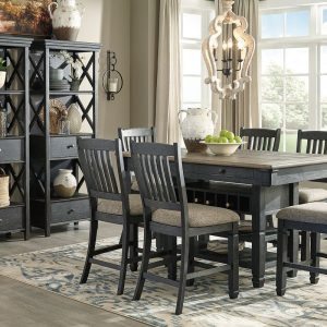 Tyler Creek - Black/Gray - 9 Pc. - RECT DRM Counter Table