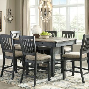 Tyler Creek - Black/Gray - 7 Pc. - RECT DRM Counter Table & 6 UPH Barstools
