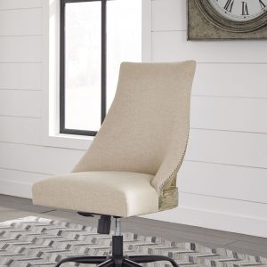 Jonileene - White/Gray - Large Leg Desk & Swivel Chair 2