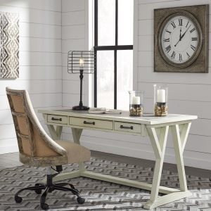 Jonileene - White/Gray - Large Leg Desk & Swivel Chair