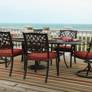 Tanglevale - Burnt Orange - Dining Set with 4 Chairs & 2 Swivel Chairs