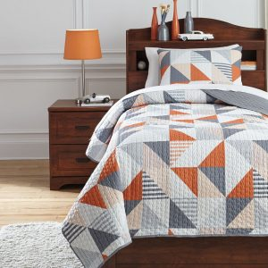Layne - Gray/Orange - Twin Coverlet Set