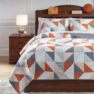 Layne - Gray/Orange - Full Coverlet Set