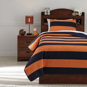 Nixon - Navy/Orange - Twin Coverlet Set