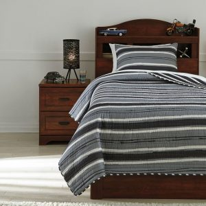 Merlin - Gray/Cream - Twin Coverlet Set