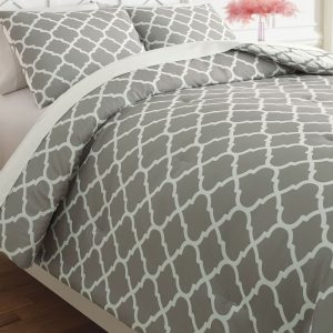Media - Gray/White - Twin Comforter Set