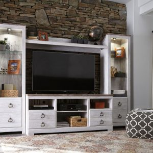Willowton - Whitewash - LG TV Stand with Fireplace Option