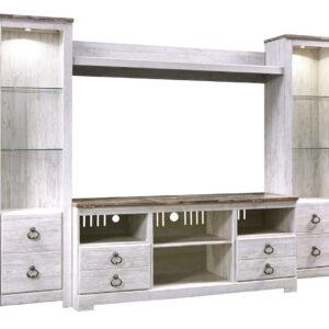 Willowton - Whitewash - LG TV Stand with Fireplace Option, 2 Piers & Bridge