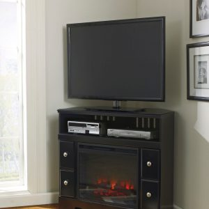 Shay - Black - Corner TV Stand with LED Fireplace