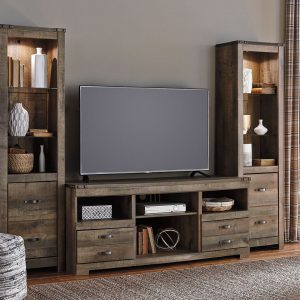 Trinell - Entertainment Center - Large TV Stand & 2 Tall Piers