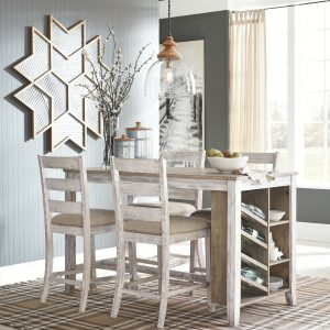 Skempton - White/Light Brown - 5 Pc. - RECT Counter Table with Storage & 4 UPH Barstools