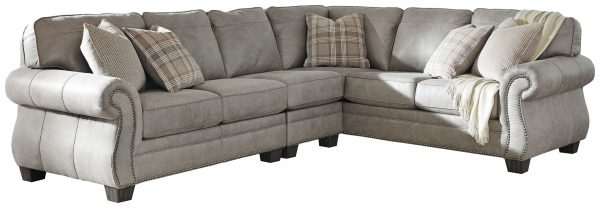 Olsberg - Steel - RAF Sofa with Corner Wedge, LAF Loveseat & Armless Chair Sectional 1