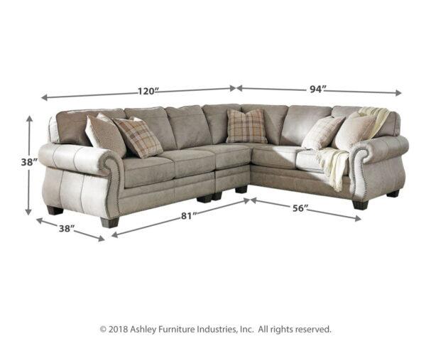 Olsberg - Steel - RAF Sofa with Corner Wedge, LAF Loveseat & Armless Chair Sectional 2