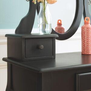 Huey Vineyard - Black - Vanity/Mirror/Stool (3/CN) 1