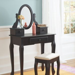 Huey Vineyard - Black - Vanity/Mirror/Stool (3/CN)