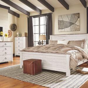 Willowton - Whitewash - California King Panel Bed 1