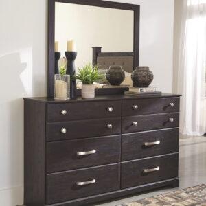 Reylow - Dark Brown - 6 Pc. - Dresser, Mirror & Queen Bookcase Storage Bed 1
