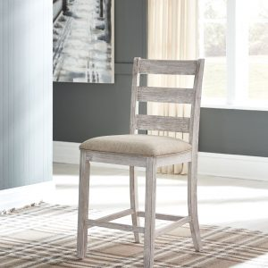 Skempton - White/Light Brown - Upholstered Barstool (2/CN)