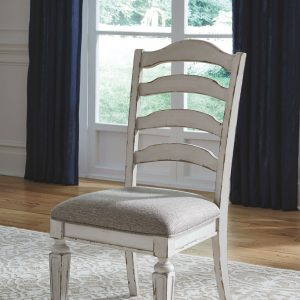 Realyn - Chipped White - 9 Pc. - RECT DRM EXT Table & 8 UPH Side Chairs 1