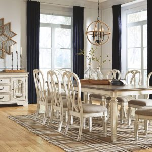 Realyn - Chipped White - 9 Pc. - RECT DRM EXT Table & 8 UPH Side Chairs