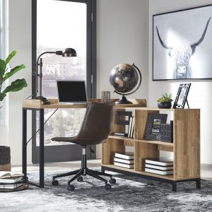 Gerdanet - Light Brown - L-Shaped Home Office Desk with Swivel Chair