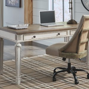 Realyn - White/Brown - Home Office Desk & Swivel Desk Chair