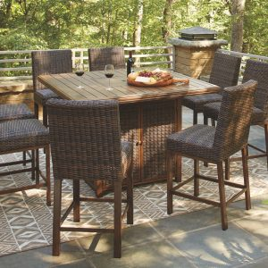 Paradise Trail - Medium Brown - Square Bar Table w/Fire Pit 1