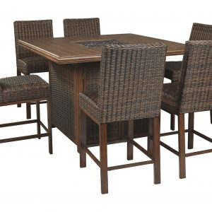 Paradise Trail - Medium Brown - Fire Pit Table & 6 Barstools