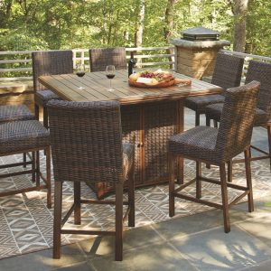 Paradise Trail - Medium Brown - Fire Pit Table & 8 Barstools