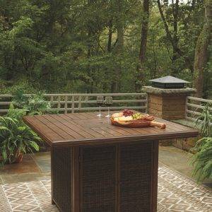 Paradise Trail - Medium Brown - Square Bar Table w/Fire Pit
