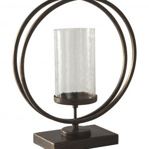 Add a splash of dimension with this candle holder. Grounded in an antiqued goldtone base, the waved glass is clearly a step above. It's the perfect addition to your eclectic collection. Product Features Holds 1 pillar candle (not included) Made of metal and glass Clean with a soft, dry cloth 1