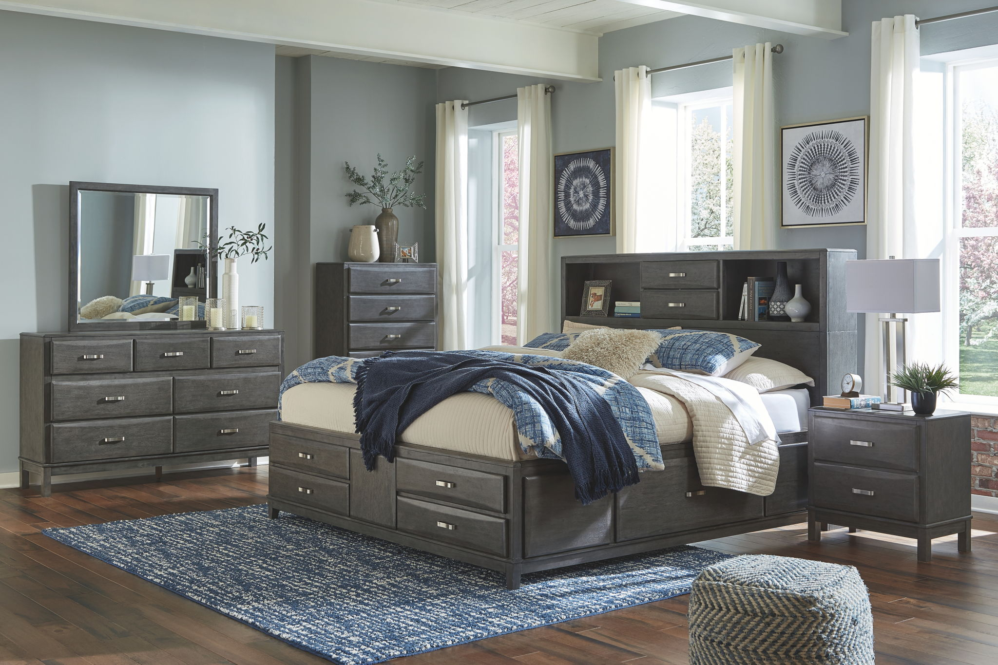 Caitbrook - Gray - Queen Storage Bed