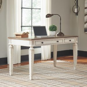 Realyn - White/Brown - Home Office Lift Top Desk