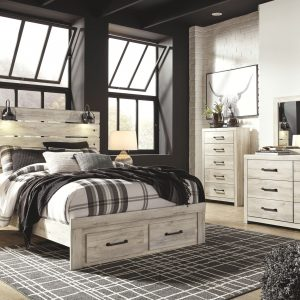 Cambeck - Whitewash - Queen Panel Bed with Storage 1