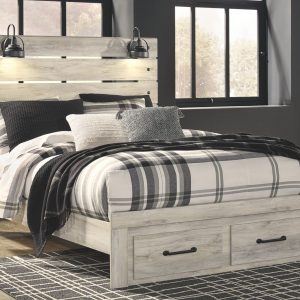 Cambeck - Whitewash - Queen Panel Bed with Storage