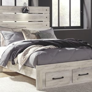Cambeck - Whitewash - Full Panel Bed with Storage