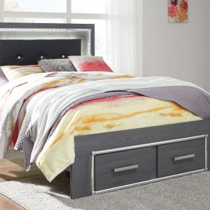 Lodanna - Gray - Full Panel Bed with Storage