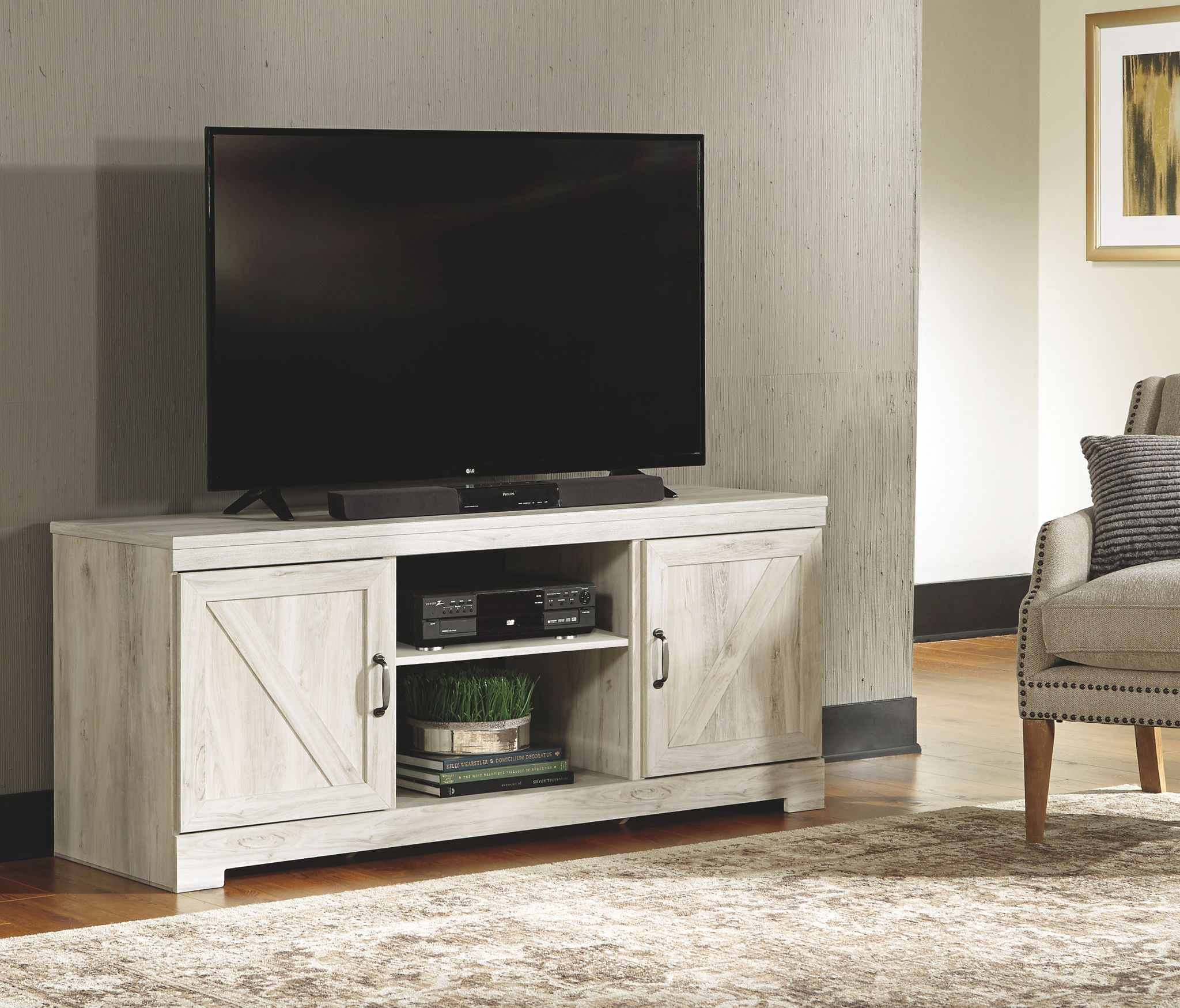 Bellaby – Whitewash – LG TV Stand w/Fireplace Option