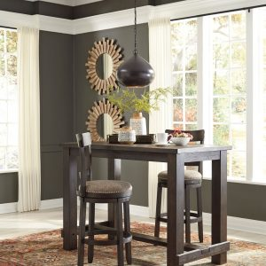Drewing - Brown - 3 Pc. - RECT Bar Table & 2 Tall UPH Swivel Barstools