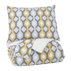 Mato - Gray/Yellow/White - King Comforter Set